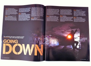 Opening spread of Going Down, published in the age(melbourne)magazine