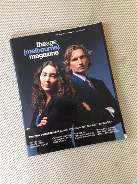 A picture of issue number 1 of the age(melbourne)magazine. Published in late October 2004.