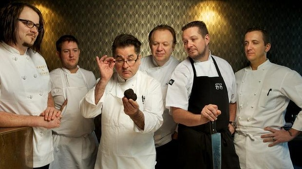 Guy Grossi (third from left) and Philippe Mouchel (third from right) will have a truffle cook-off. Photo: Simon Schluter