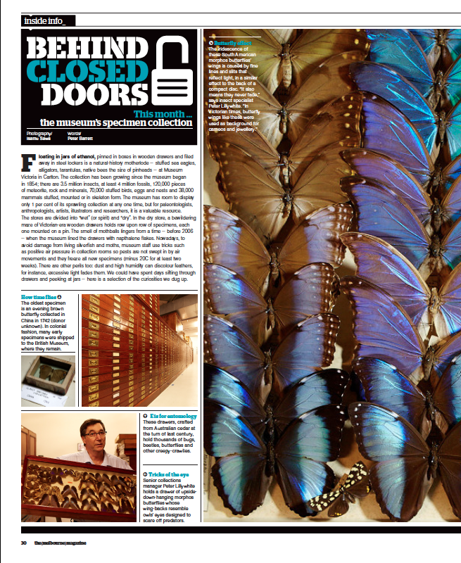 An example of Behind Closed Doors, a column that regularly appeared in the (melbourne) magazine.