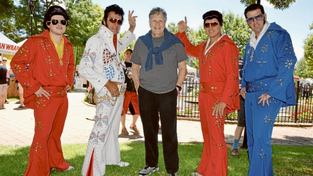 Steve Binder meets Elvis impersonators in Parkes for the annual festival in memory of the King. Photo: Bill Jayet.