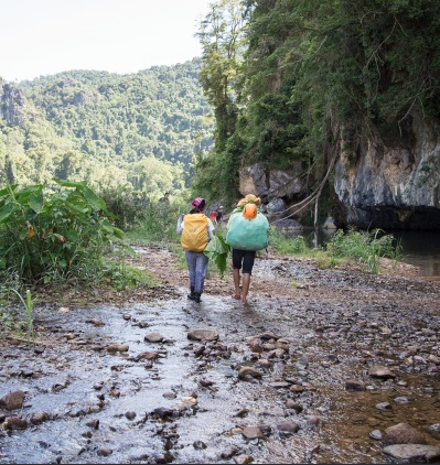 The 'road' to Hang En includes lush jungle tracks and many river crossings. Photograph: Peter Barrett